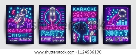 Karaoke Poster Set Vector. Party Flyer. Music Night. Radio Microphone. Retro Concert. Club Backgroun Stock photo © pikepicture