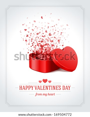Valentine Day heart glowing lights Vector. Celebrate Love text card. Heart shape realistic lights ga Stock photo © frimufilms