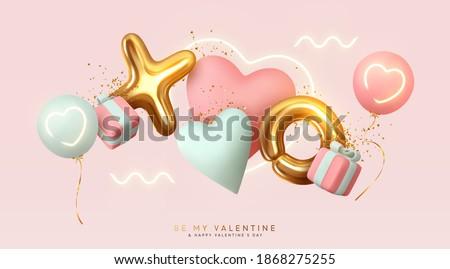 Valentin nap nap kártya léggömbök vektor valósághű Stock fotó © frimufilms