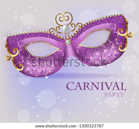 Purple ornamented mask close up Vector realistic. Stylish Masquerade Party. Mardi Gras card invitati Stock photo © frimufilms