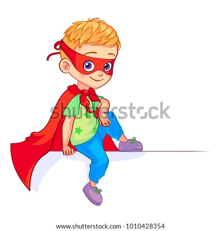 A blond Boy superhero in a red cloak isolated on white background Stock fotó © Lopolo