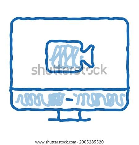 E-Learning - Doodle Illustration. Speech Bubble on Blue Chalkboard. Foto d'archivio © tashatuvango