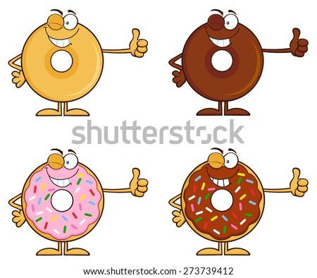 Kacsintás csokoládé fánk rajzfilmfigura hüvelykujj felfelé Stock fotó © hittoon