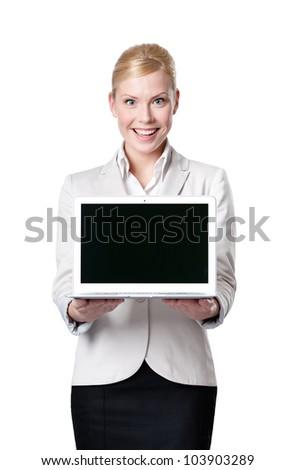 Genç iş kadını bilgisayar ürün gri kadın Stok fotoğraf © Lopolo