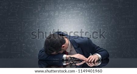 Tanár alszik munkahely tele rajz iskolatábla Stock fotó © ra2studio