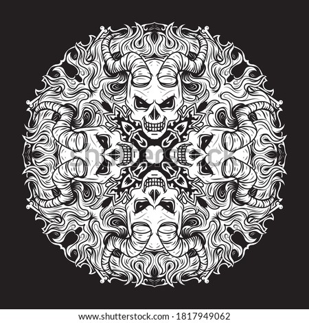 Skull mandala vector design, Halloween decoration pattern with Mexican skulls in black on white back Stock photo © RedKoala