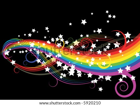 Black and Rainbow Colored Stars with Swirly Shapes Vector Illust Stock photo © cidepix