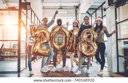 Merry Christmas and Happy New Year, Young business team are cele Stock photo © Freedomz