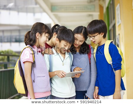 School Building and Kids Playing Games at Break Stock photo © robuart