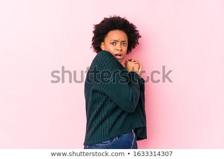 Menina olhando assustado preto e branco retrato Foto stock © lichtmeister