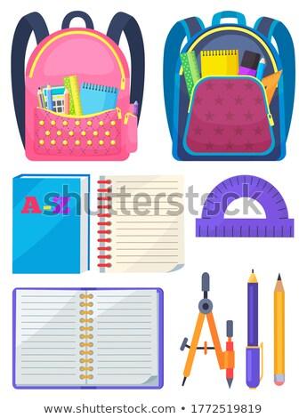 Foto stock: Escuela · mochila · cuaderno · vector · lápiz · sacapuntas