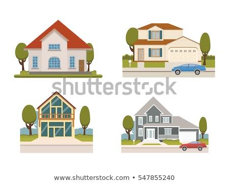 Private family cottage house, flat style illustration Stock photo © shai_halud