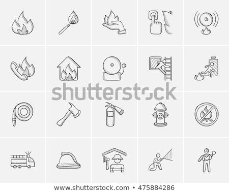 Hand drawn sketch fireman icon Stock photo © netkov1