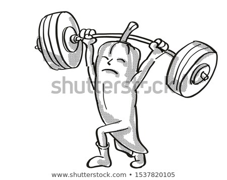 Red Chili Pepper Healthy Vegetable Lifting Barbell Cartoon Retro Drawing Stock photo © patrimonio