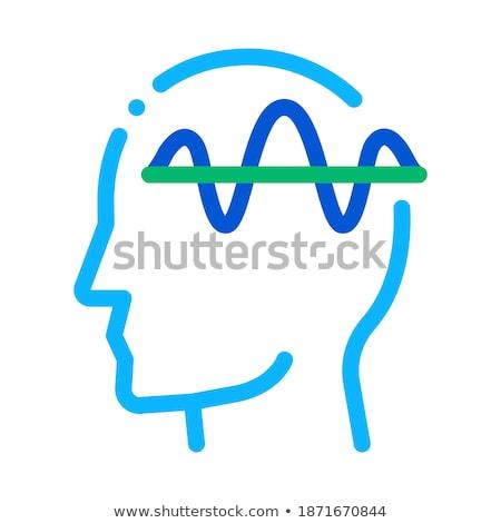 Foto stock: Sistema · nervoso · cabeça · ícone · vetor · fino · linha