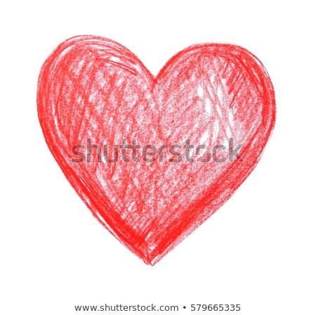 Kırmızı Mum Boya Kalp çizim Beyaz Stok Fotoğraf Tom