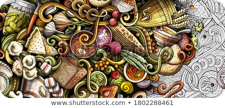Russian food hand drawn doodles illustration. Russia cuisine poster Stock photo © balabolka