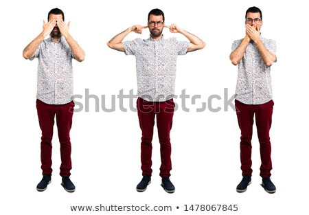 man closing ears by hands Stock photo © dolgachov