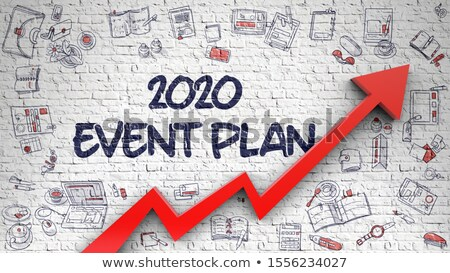 2020 Event Plan Drawn On White Brickwall Foto stock © Tashatuvango