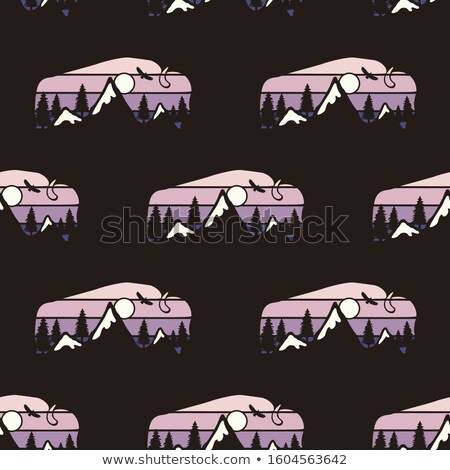 Camping seamless pattern with wild animal labels buffalo badges. Travel wallpaper background. Stock  Stock photo © JeksonGraphics