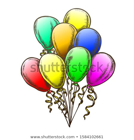 Balloons Heap Decorated Curly Ribbon Retro Vector Stock photo © pikepicture