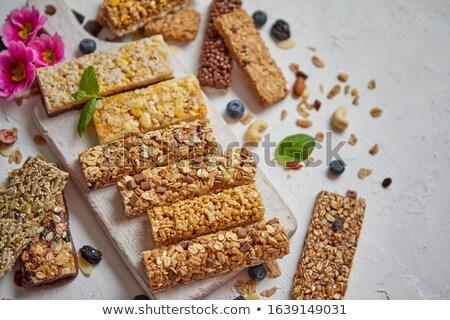 Különböző fehérje granola rácsok száraz gyümölcsök Stock fotó © dash