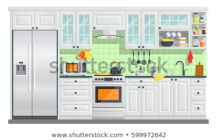 Kitchen Room with Dish and Furniture Symbol Vector Stock photo © robuart