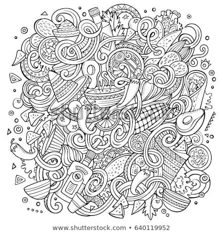 México dibujado a mano Cartoon garabatos ilustración funny Foto stock © balabolka