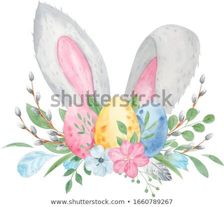 Cartoon lapin de Pâques peint œufs de Pâques illustration joyeuses pâques Photo stock © izakowski
