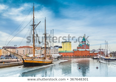Panorama of Old Town in Helsinki with reflections, Finland Stock photo © ShustrikS