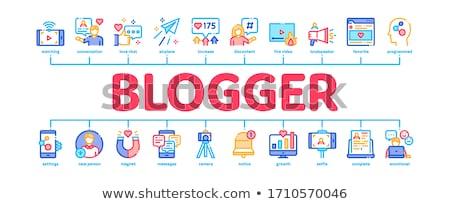 Blogger canal mínimo infografía banner vector Foto stock © pikepicture