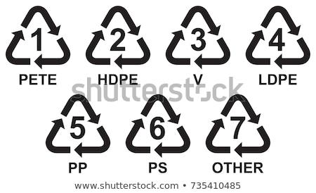 Ingesteld recycling symbolen plastic recycleren iconen Stockfoto © Zsuskaa