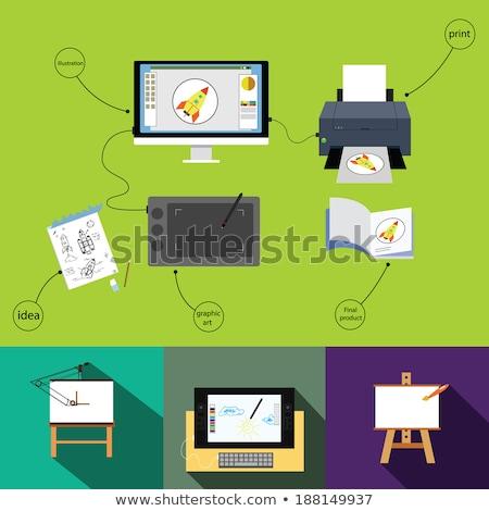Ordinateur imprimante design graphique outil travaux Photo stock © yupiramos