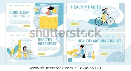 Cama desayuno aterrizaje página lujoso servicio Foto stock © RAStudio