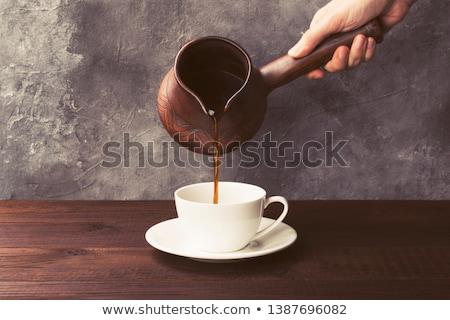 Réz főzet kávé fehér sötét reggeli Stock fotó © mayboro