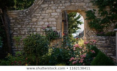 open wooden door in brick wall to garden stock photo © backyardproductions