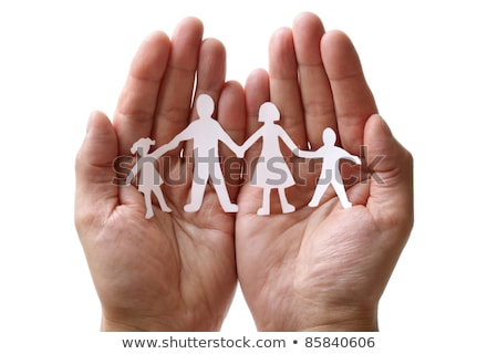 Stock foto: Paper Chain Family Protected In Cupped Hands