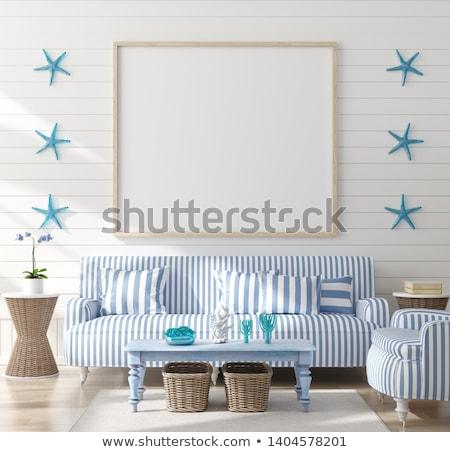 tengerpart · stílus · portré · fiatal · lány · pózol · kék - stock fotó © pressmaster