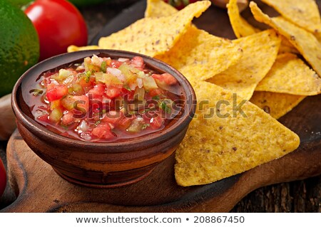 Bowl of salsa and fresh nachos Stock photo © mephi55to