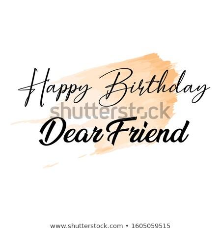 Feliz cumpleaños osito de peluche torta llameante vela naranja Foto stock © sahua