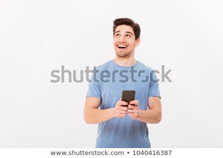 Erkek yalıtılmış beyaz telefon ağ Stok fotoğraf © dacasdo