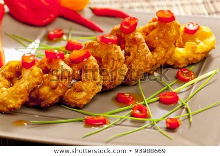 Frito sepia anillos chile comida dentro Foto stock © phbcz