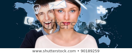 A business people with icons floating around their head. Portrai Stock photo © HASLOO