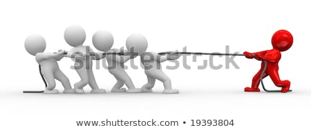 Stok fotoğraf: 3d Human Pulling A Rope