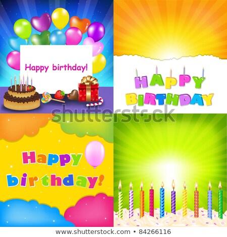 Birthday Backgrounds Set With Sunburst Stock photo © adamson