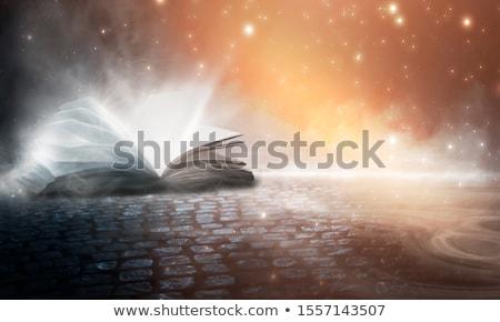 Eski İncil deri kapalı ahşap masa Stok fotoğraf © Forgiss