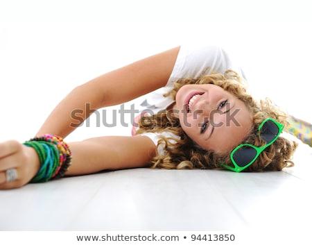 portrait · belle · modèle · étage - photo stock © zastavkin