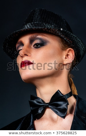 sexy girl in a red hat with red lips stock photo © mariematata