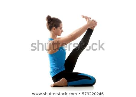 Reiger pose meisje oefenen witte vrouw Stockfoto © dolgachov