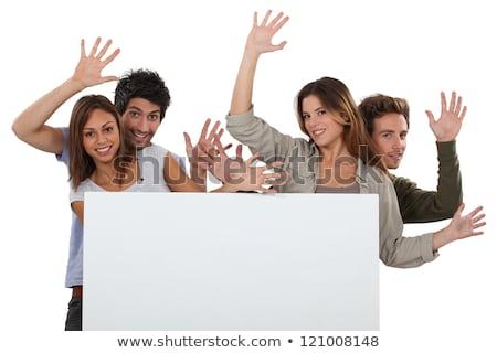 Lelkes barátok tábla üzenet kezek nők Stock fotó © photography33